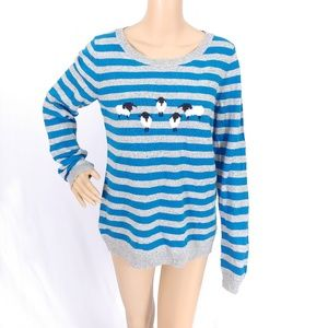 Talbots Blue Gray Sheep Striped Pullover Sweater M